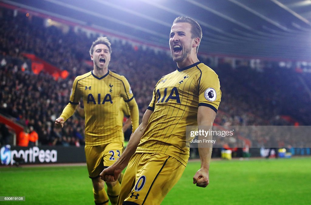 Harry Kane of Tottenham Hotspur (10) celebrates as he scores their second goal during the Premier League match between Southampton and Tottenham Hotspur at St Mary's Stadium on December 28, 2016 in Southampton, England.