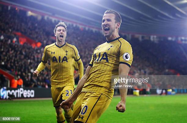 Harry Kane of Tottenham Hotspur celebrates as he scores their second goal during the Premier League match between Southampton and Tottenham Hotspur...