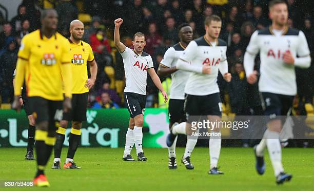 Harry Kane of Tottenham Hotspur celebrates as he scores their second goal during the Premier League match between Watford and Tottenham Hotspur at...