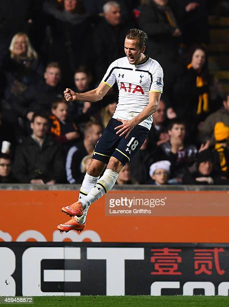 Harry Kane of Tottenham Hotspur celebrates his goal during the Barclays Premier League match between Hull City and Tottenham Hotspur at KC Stadium on...