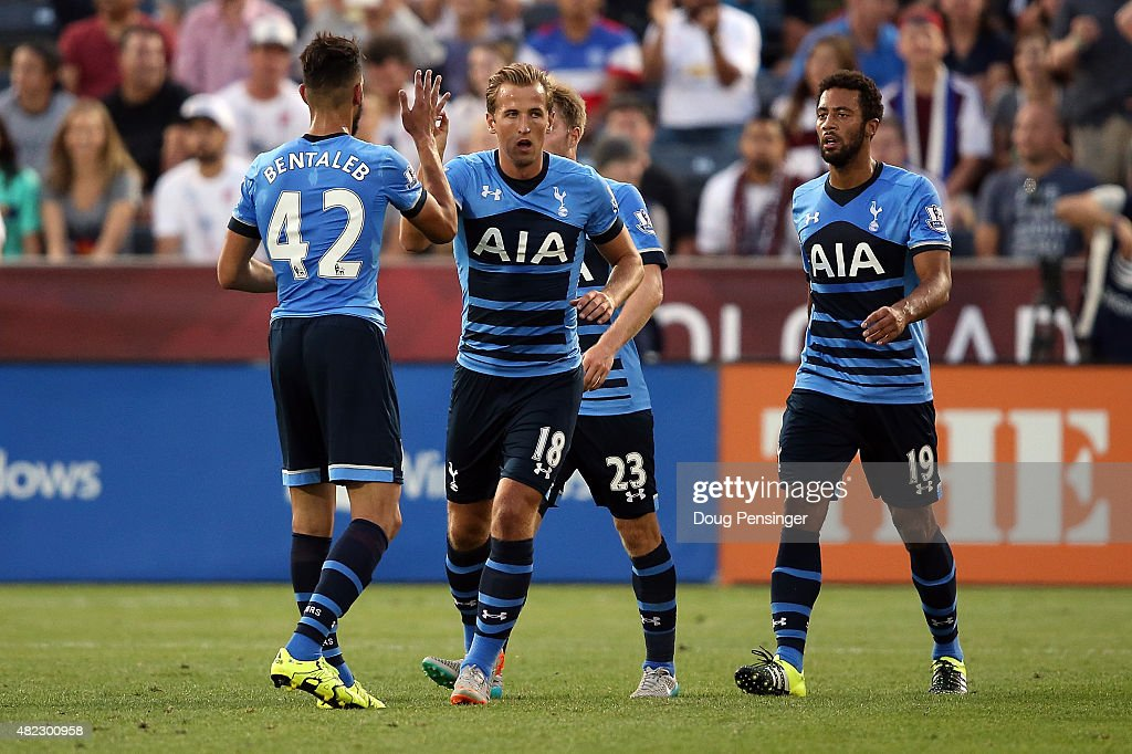 Harry Kane #18 of Tottenham Hotspur celebrates his goal in the 37th minute against the MLS All-Stars with teammates Nabil Bentaleb #42, Christian Eriksen #23 and Mousa Dembele #19 of Tottenham Hotspurduring the 2015 AT&T Major League Soccer All-Star game at Dick's Sporting Goods Park on July 29, 2015 in Commerce City, Colorado.