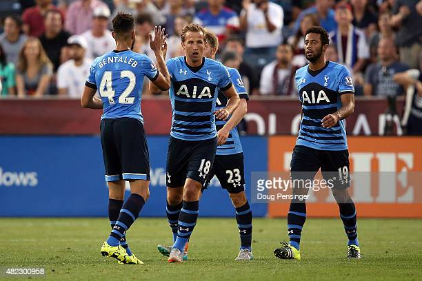 Harry Kane of Tottenham Hotspur celebrates his goal in the 37th minute against the MLS AllStars with teammates Nabil Bentaleb Christian Eriksen and...