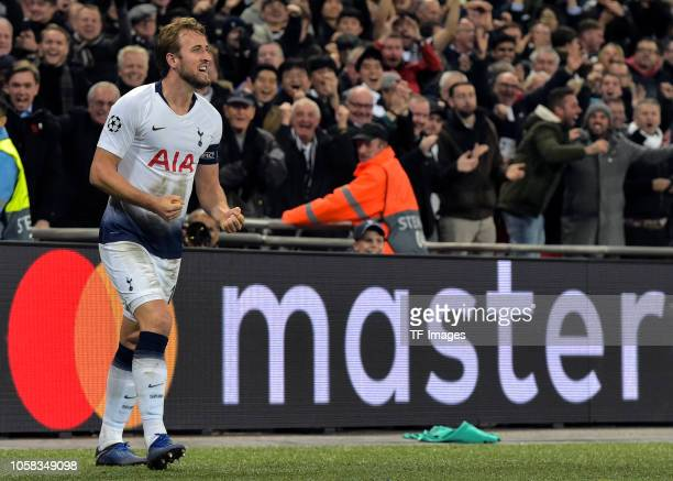 Harry Kane of Tottenham Hotspur celebrates his side's second goal during the Group B match of the UEFA Champions League between Tottenham Hotspur and...