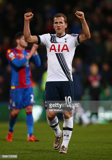 Harry Kane of Tottenham Hotspur celebrates his team's 31 win in the Barclays Premier League match between Crystal Palace and Tottenham Hotspur at...