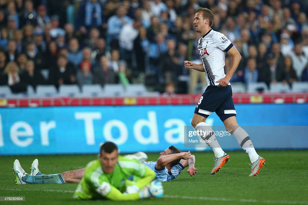 Harry Kane of Tottenham Hotspur celebrates scoring a goal during the international friendly match between Sydney FC and Tottenham Spurs at ANZ Stadium on May 30, 2015 in Sydney, Australia.