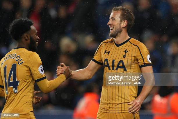 Harry Kane of Tottenham Hotspur celebrates scoring a goal to make it 16 with GeorgesKevin N'Koudou during the Premier League match between Leicester...