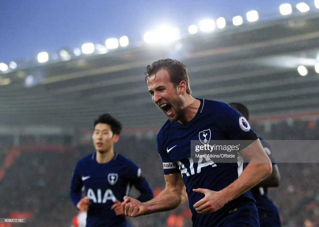 Harry Kane of Tottenham Hotspur celebrates scoring his goal during the Premier League match between Southampton and Tottenham Hotspur at St Mary's Stadium on January 21, 2018 in Southampton, England.