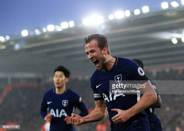 Harry Kane of Tottenham Hotspur celebrates scoring his goal during the Premier League match between Southampton and Tottenham Hotspur at St Mary's...