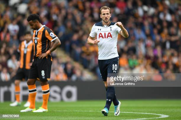 Harry Kane of Tottenham Hotspur celebrates scoring his sides first goal during the Premier League match between Hull City and Tottenham Hotspur at...