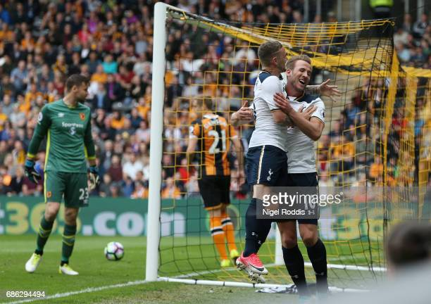 Harry Kane of Tottenham Hotspur celebrates scoring his sides first goal with Kieran Trippier of Tottenham Hotspur during the Premier League match...