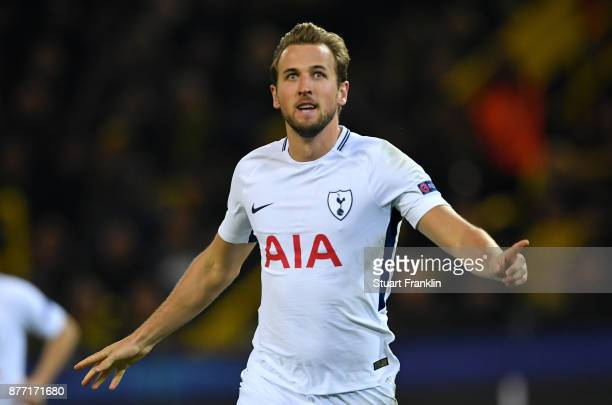 Harry Kane of Tottenham Hotspur celebrates scoring his sides first goal during the UEFA Champions League group H match between Borussia Dortmund and...