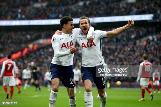 Harry Kane of Tottenham Hotspur celebrates scoring his side's first goal with Dele Alli during the Premier League match between Tottenham Hotspur and...