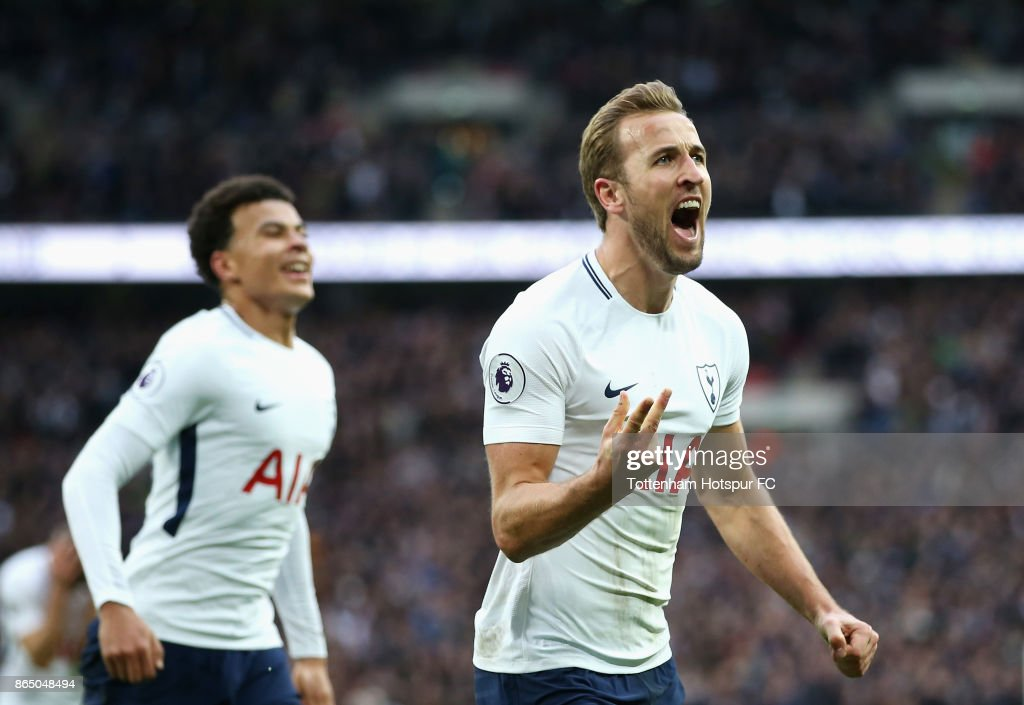Harry Kane of Tottenham Hotspur celebrates scoring his sides fourth goal during the Premier League match between Tottenham Hotspur and Liverpool at Wembley Stadium on October 22, 2017 in London, England.