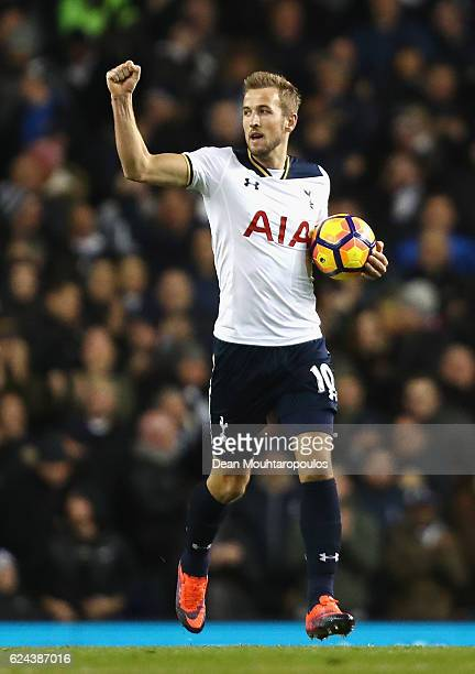 Harry Kane of Tottenham Hotspur celebrates scoring his sides second goal during the Premier League match between Tottenham Hotspur and West Ham...