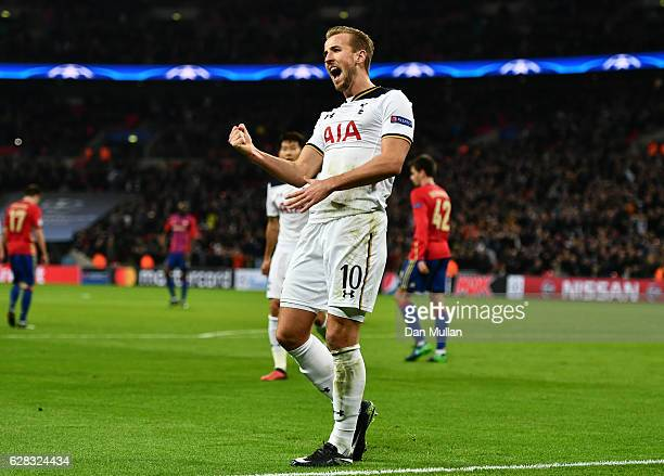 Harry Kane of Tottenham Hotspur celebrates scoring his sides second goal during the UEFA Champions League Group E match between Tottenham Hotspur FC...
