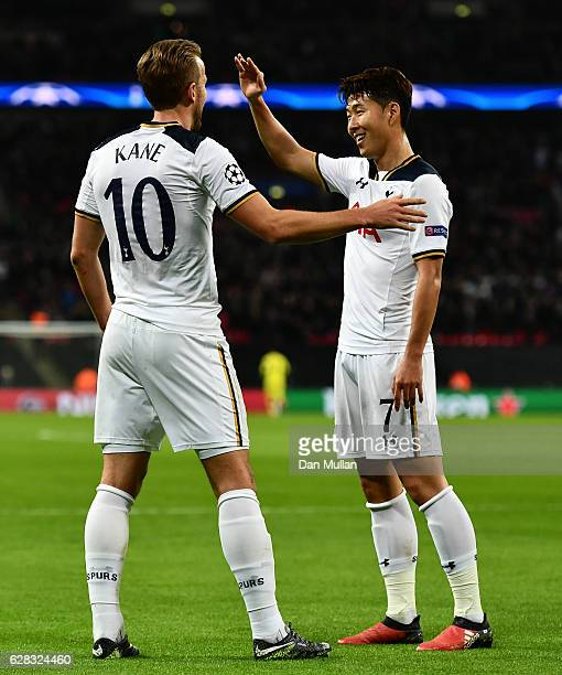 Harry Kane of Tottenham Hotspur celebrates scoring his sides second goal with HeungMin Son of Tottenham Hotspur during the UEFA Champions League...