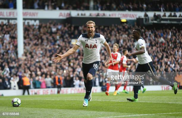 Harry Kane of Tottenham Hotspur celebrates scoring his sides second goal from the penalty spot during the Premier League match between Tottenham...