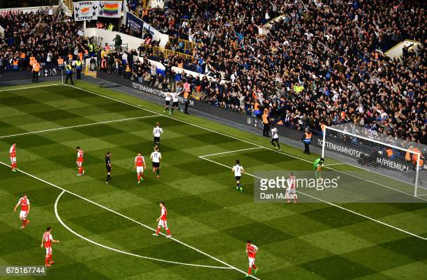 Harry Kane of Tottenham Hotspur celebrates scoring his sides second goal from the penalty spot with Dele Alli of Tottenham Hotspur during the Premier...