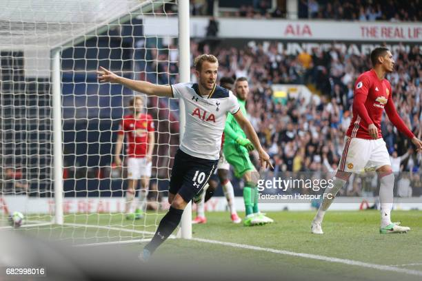 Harry Kane of Tottenham Hotspur celebrates scoring his sides second goal during the Premier League match between Tottenham Hotspur and Manchester...