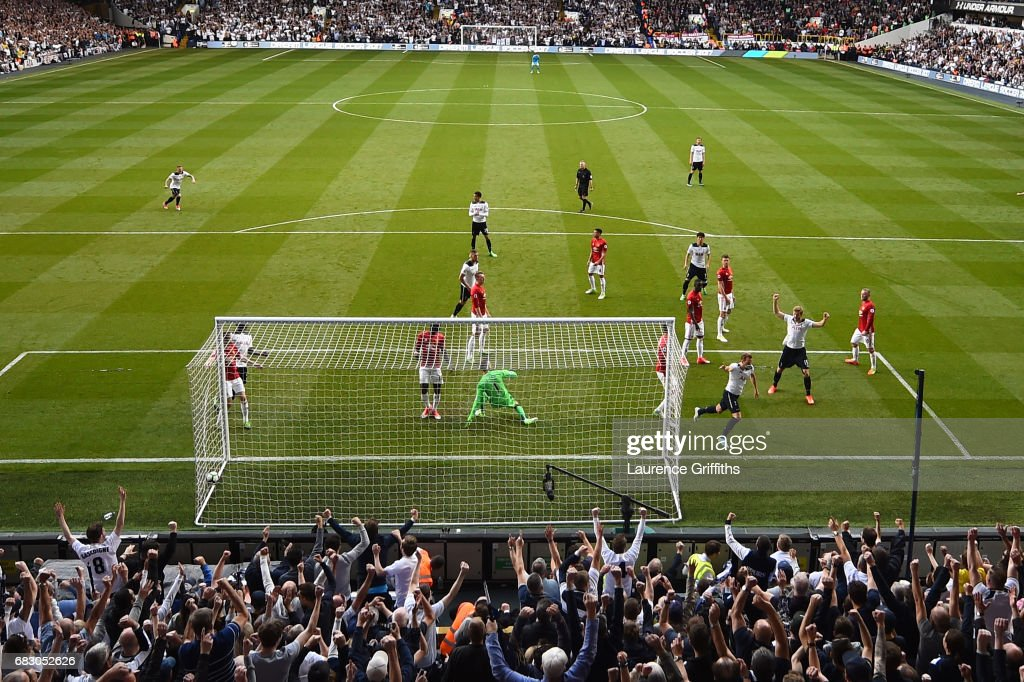 Harry Kane of Tottenham Hotspur celebrates scoring his sides second goal past David De Gea of Manchester United during the Premier League match between Tottenham Hotspur and Manchester United at White Hart Lane on May 14, 2017 in London, England. Tottenham Hotspur are playing their last ever home match at White Hart Lane after their 118 year stay at the stadium. Spurs will play at Wembley Stadium next season with a move to a newly built stadium for the 2018-19 campaign.