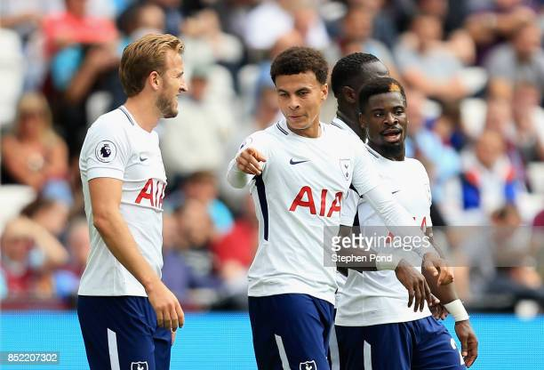 Harry Kane of Tottenham Hotspur celebrates scoring his sides second goal with Dele Alli of Tottenham Hotspur during the Premier League match between...