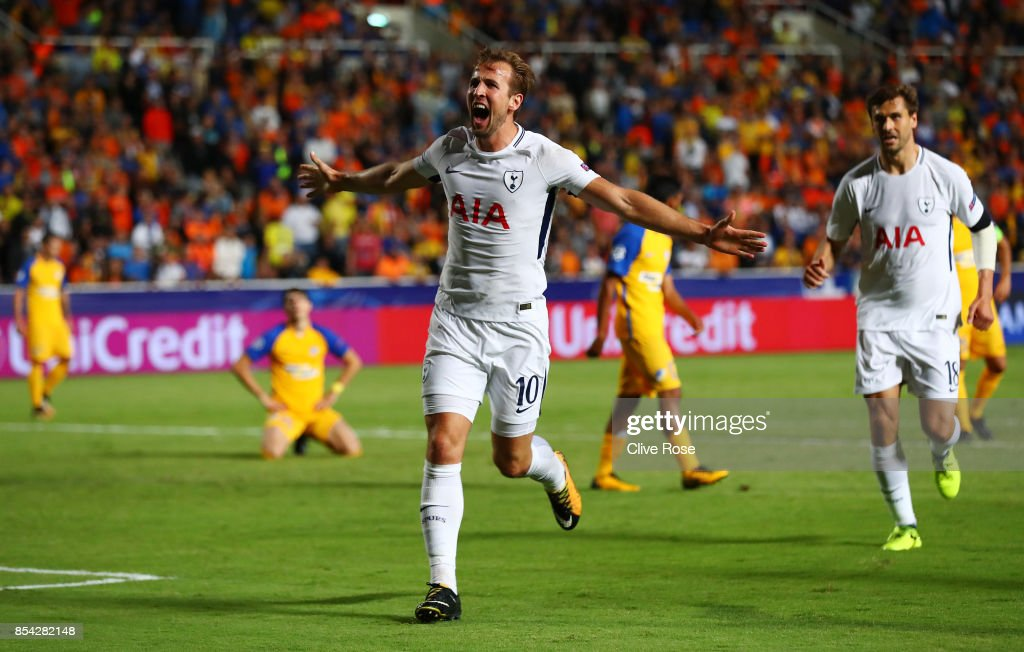 Harry Kane of Tottenham Hotspur celebrates scoring his sides second goal during the UEFA Champions League Group H match between Apoel Nicosia and Tottenham Hotspur at GSP Stadium on September 26, 2017 in Nicosia, Cyprus.