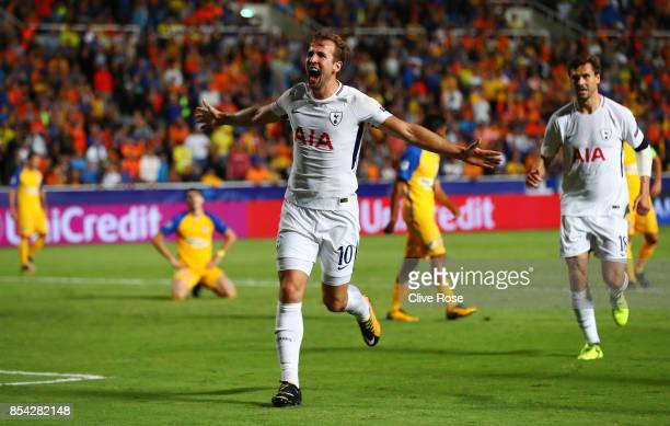 Harry Kane of Tottenham Hotspur celebrates scoring his sides second goal during the UEFA Champions League Group H match between Apoel Nicosia and...