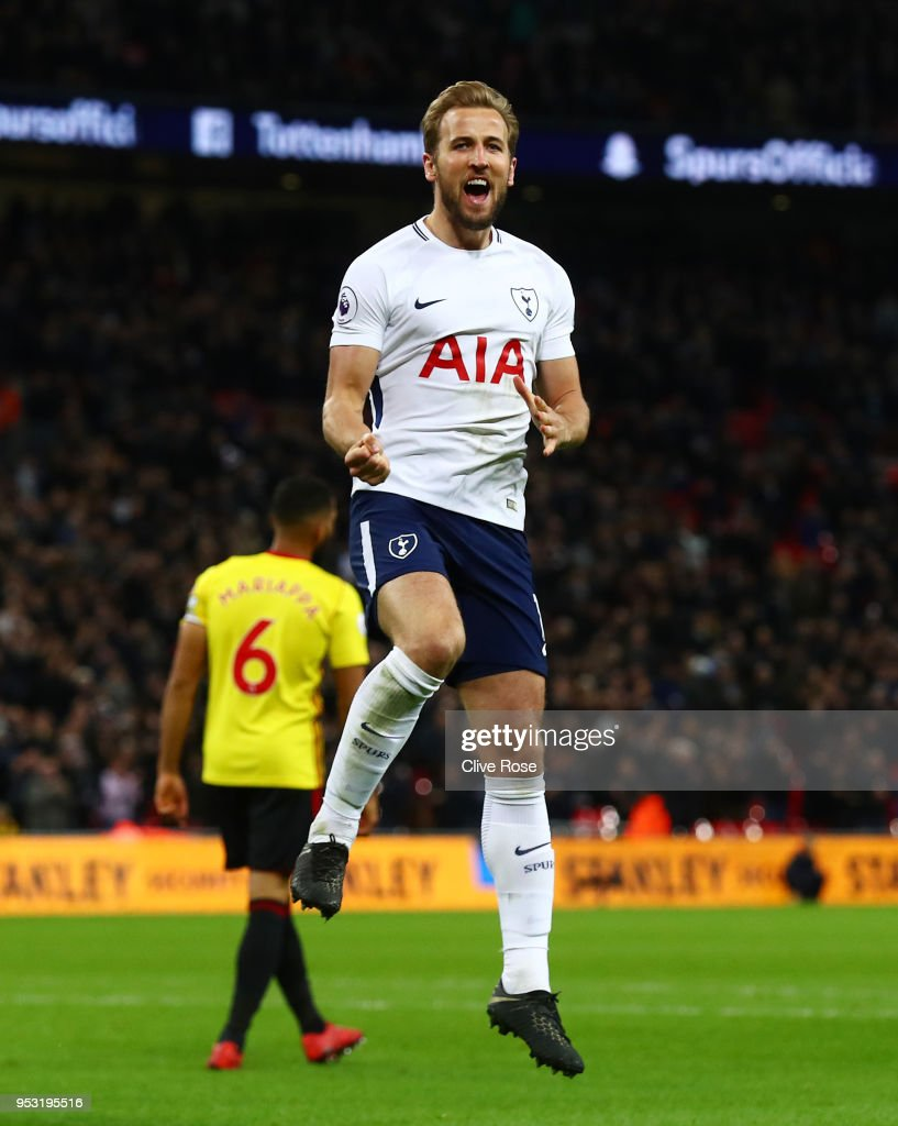 Harry Kane of Tottenham Hotspur celebrates scoring his side's second goal during the Premier League match between Tottenham Hotspur and Watford at Wembley Stadium on April 30, 2018 in London, England.