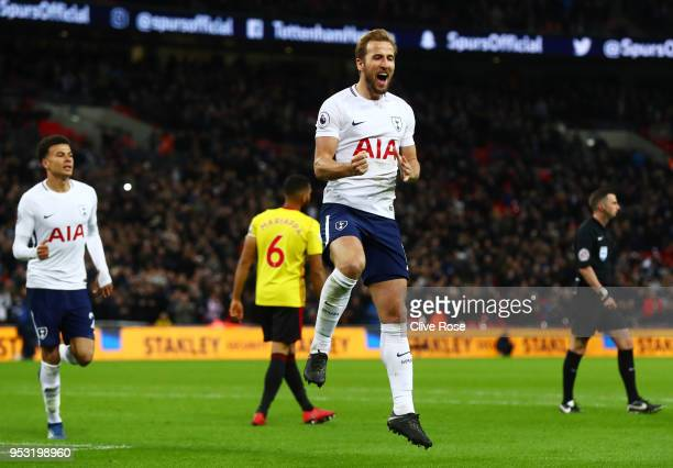 Harry Kane of Tottenham Hotspur celebrates scoring his side's second goal during the Premier League match between Tottenham Hotspur and Watford at...