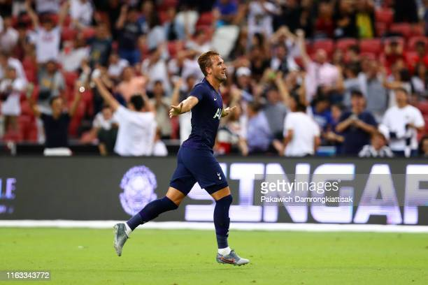 Harry Kane of Tottenham Hotspur celebrates scoring his side's third goal during the International Champions Cup match between Juventus and Tottenham...
