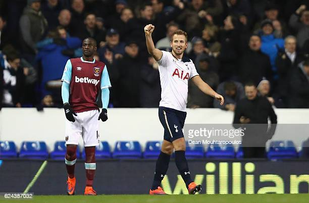 Harry Kane of Tottenham Hotspur celebrates scoring his sides third goal during the Premier League match between Tottenham Hotspur and West Ham United...