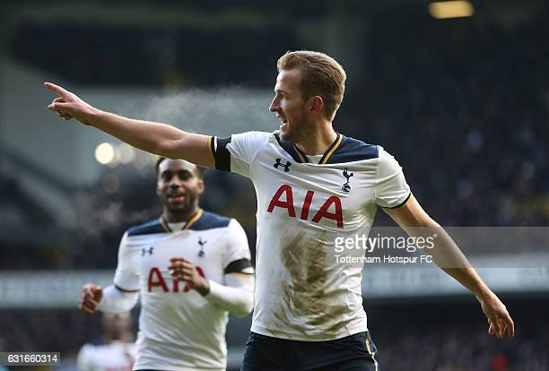 Harry Kane of Tottenham Hotspur celebrates scoring his sides third goal during the Premier League match between Tottenham Hotspur and West Bromwich...
