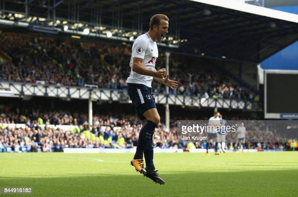 Harry Kane of Tottenham Hotspur celebrates scoring his sides third goal during the Premier League match between Everton and Tottenham Hotspur at...