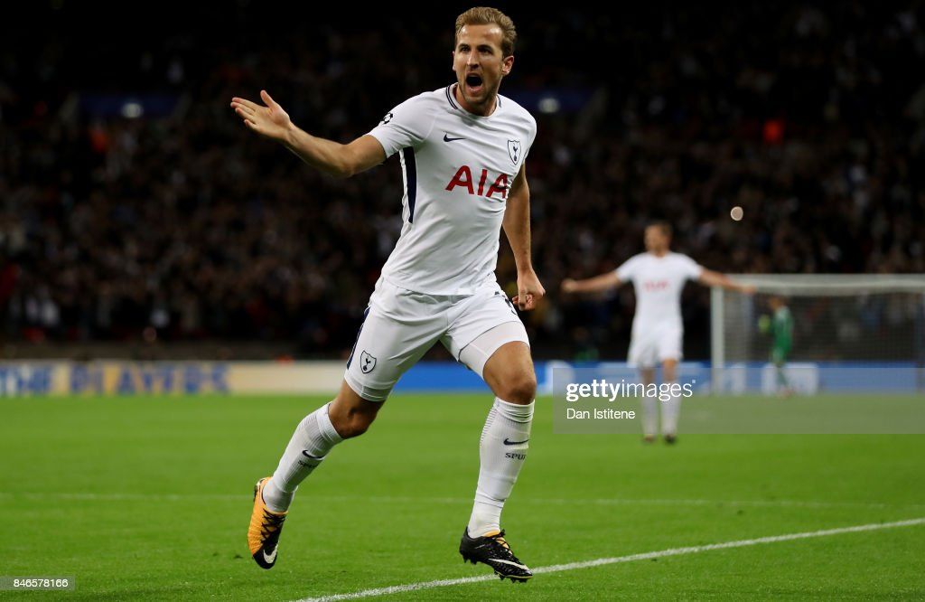 Harry Kane of Tottenham Hotspur celebrates scoring his sides third goal during the UEFA Champions League group H match between Tottenham Hotspur and Borussia Dortmund at Wembley Stadium on September 13, 2017 in London, United Kingdom.