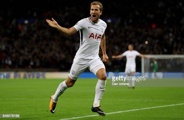 Harry Kane of Tottenham Hotspur celebrates scoring his sides third goal during the UEFA Champions League group H match between Tottenham Hotspur and...