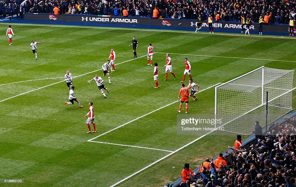 Harry Kane of Tottenham Hotspur celebrates scoring his team's first goal during the Barclays Premier League match between Tottenham Hotspur and Arsenal at White Hart Lane on March 5, 2016 in London, England.