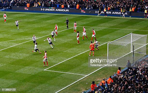 Harry Kane of Tottenham Hotspur celebrates scoring his team's first goal during the Barclays Premier League match between Tottenham Hotspur and...