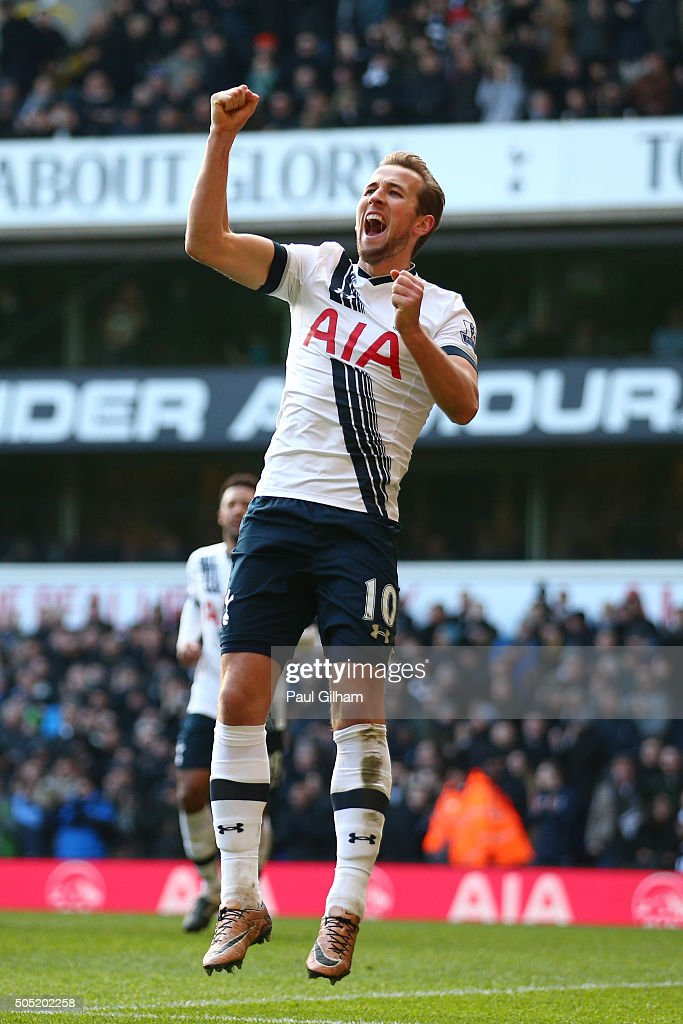 Harry Kane of Tottenham Hotspur celebrates scoring his team's fourth goal during the Barclays Premier League match between Tottenham Hotspur and Sunderland at White Hart Lane on January 16, 2016 in London, England.