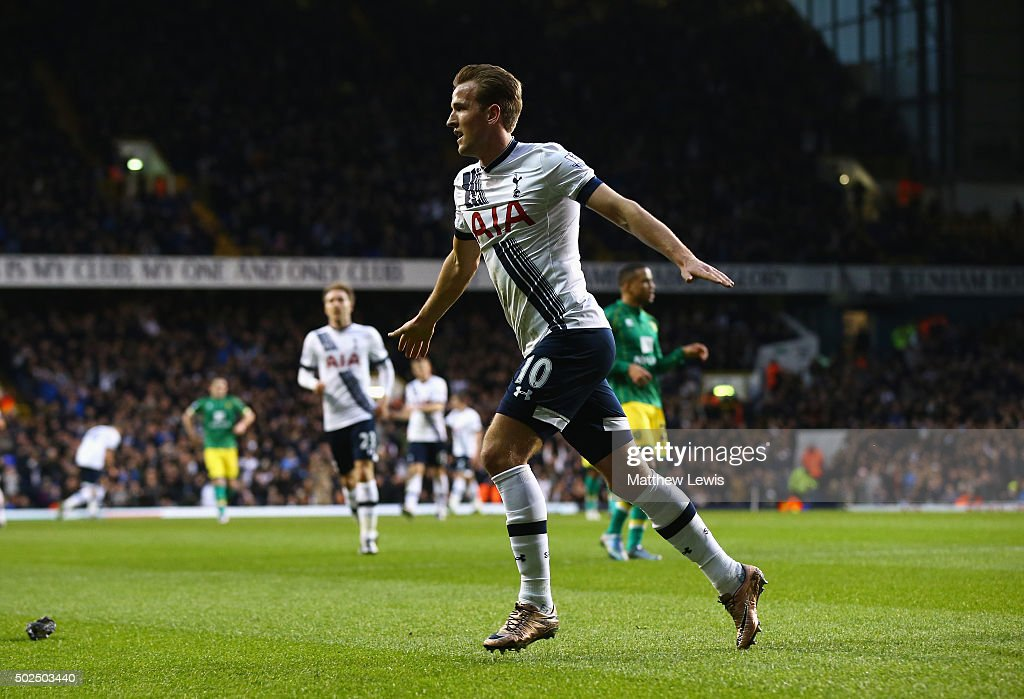 Harry Kane of Tottenham Hotspur celebrates scoring his teams second goal during the Barclays Premier League match between Tottenham Hotspur and Norwich City at White Hart Lane on December 26, 2015 in London, England.