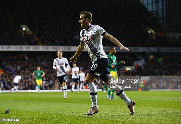 Harry Kane of Tottenham Hotspur celebrates scoring his teams second goal during the Barclays Premier League match between Tottenham Hotspur and...
