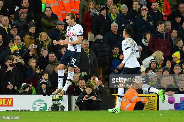 Harry Kane of Tottenham Hotspur celebrates scoring his team's second goal with his team mate Dele Alli during the Barclays Premier League match...