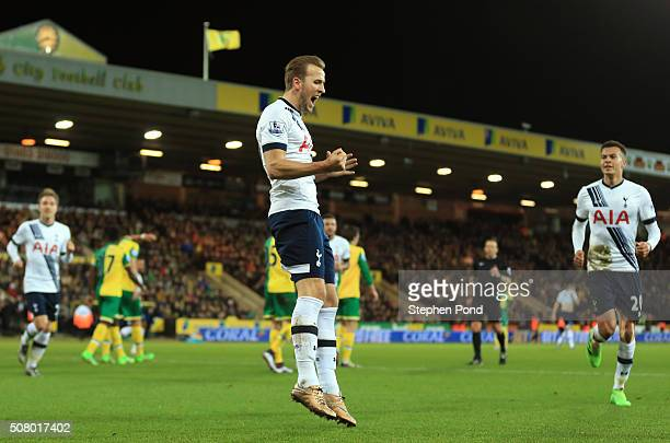 Harry Kane of Tottenham Hotspur celebrates scoring his team's second goal during the Barclays Premier League match between Norwich City and Tottenham...