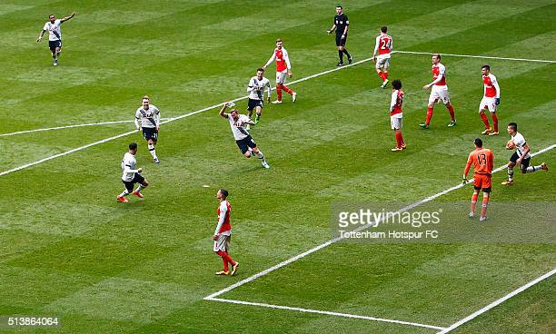 Harry Kane of Tottenham Hotspur celebrates scoring his team's second goal during the Barclays Premier League match between Tottenham Hotspur and...