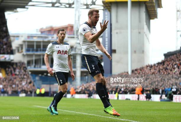 Harry Kane of Tottenham Hotspur celebrates scoring his teams second goal with teammate Jan Vertonghen during the Premier League match between...
