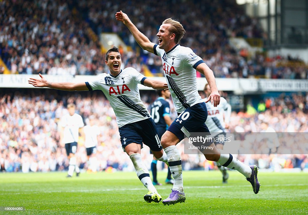 Harry Kane of Tottenham Hotspur celebrates scoring his team's third goal during the Barclays Premier League match between Tottenham Hotspur and Manchester City at White Hart Lane on September 26, 2015 in London, United Kingdom.