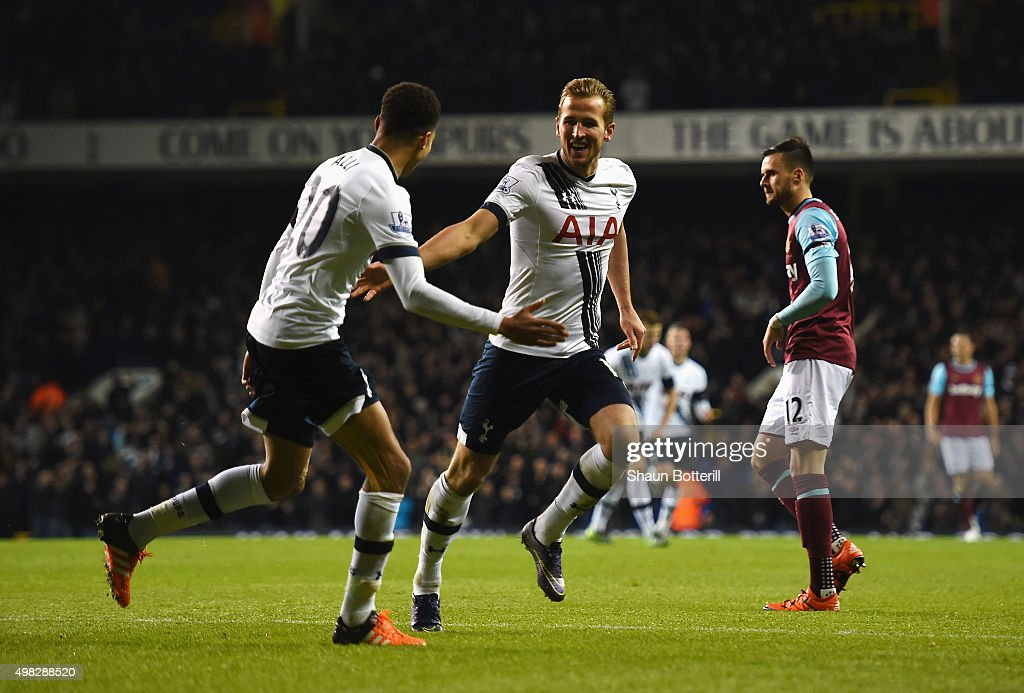 Harry Kane of Tottenham Hotspur celebrates scoring his teams third goal during the Barclays Premier League match between Tottenham Hotspur and West Ham United at White Hart Lane on November 22, 2015 in London, England.