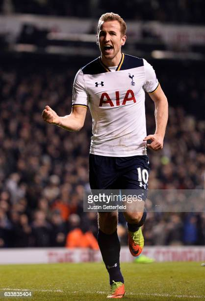 Harry Kane of Tottenham Hotspur celebrates scoring the first goal during the Premier League match between Tottenham Hotspur and Middlesbrough at...