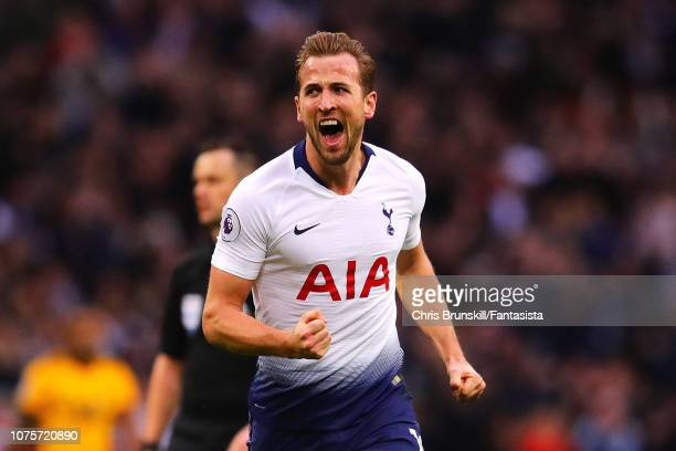 Harry Kane of Tottenham Hotspur celebrates scoring the opening goal during the Premier League match between Tottenham Hotspur and Wolverhampton...