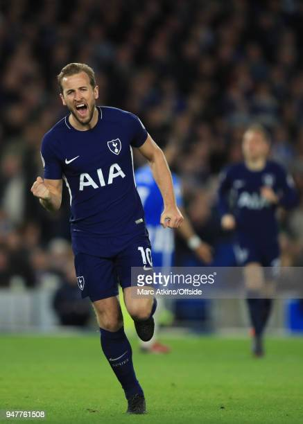 Harry Kane of Tottenham Hotspur celebrates scoring the opening goal during the Premier League match between Brighton and Hove Albion and Tottenham...