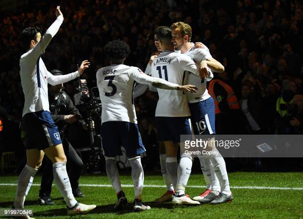 Harry Kane of Tottenham Hotspur celebrates scoring the second Tottenham Hotspur goal from the penalty spot during The Emirates FA Cup Fifth Round...